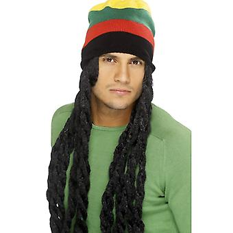 Rasta hat met pruik XXL zwart Jamaica dreads Rasta Hat