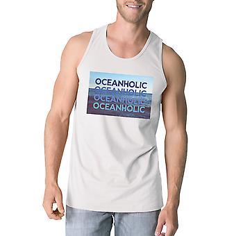 Oceanholic メンズ ホワイト グラフィック タンク軽量熱帯タンク トップ