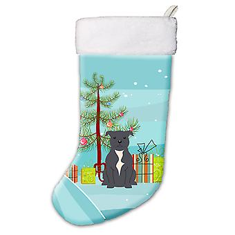 Merry Christmas Tree Staffordshire Bull Terrier Blue Christmas Stocking