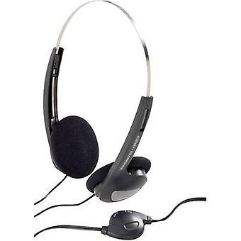 سماعات الرأس ذات الأذن على الأذن والتحكم في مستوى الصوت بتقنية Basetech CD-1000VR، والأسود بحزام الرأس خفيف الوزن