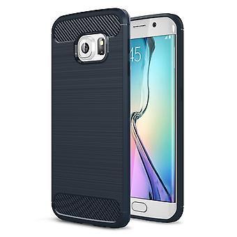 Samsung Galaxy S6 bordo TPU caso carbonio fibra ottica spazzolato protettiva custodia blu