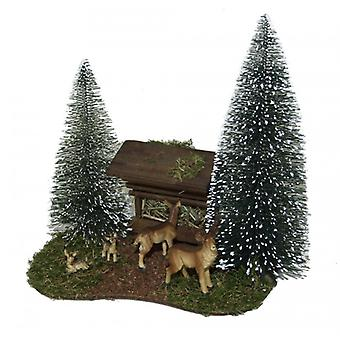 Nativity accessories Christmas Nativity stable feeding area with deer and pine