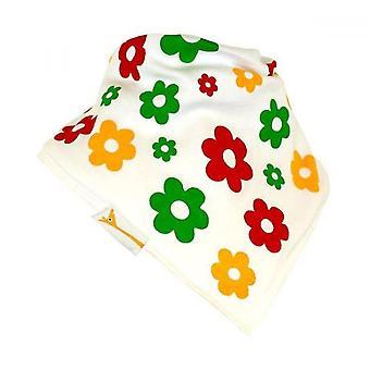 White, red, green & yellow flowers bandana bib