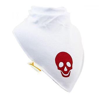 Vita & röd skalle xl bandana bib