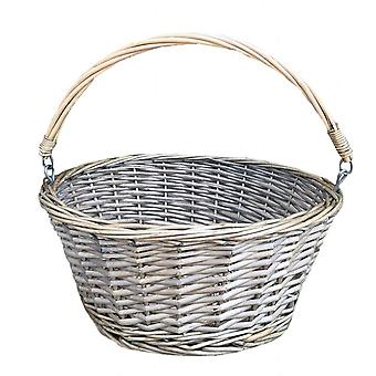 Round Swing Handle Antique Wash Wicker Shopping Basket