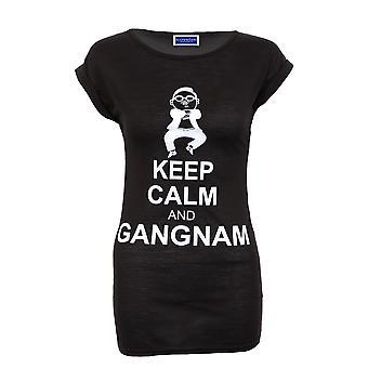 Новые дамы разрыв рукав Gangnam печати черный белый синий футболке женщин Топ
