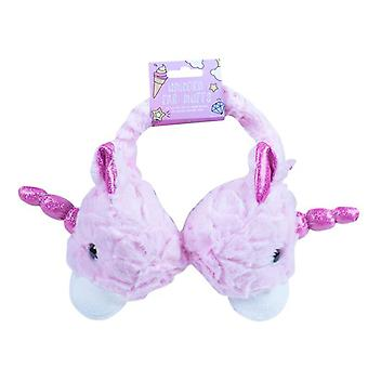 Pink super soft Unicorn head childrens earmuffs