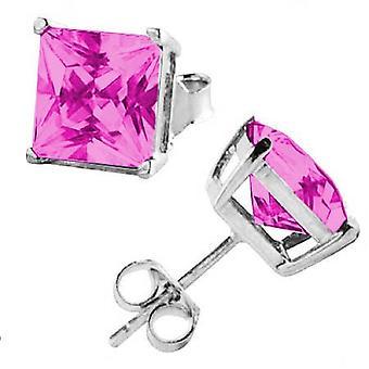 Ear Studs Earrings 925 Sterling Silver, Square Pink Stones, Jewellery | 3 - 8 mm