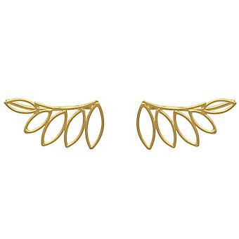 GEMSHINE Ohrringe Lotusblume. Ohrstecker Ear Climber 925 Silber, vergoldet, rose
