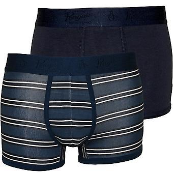 Original Penguin 2-Pack Stripes & Solid Boxer Trunks, Navy/Blue