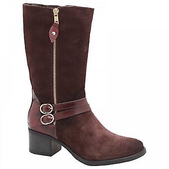 Luis Gonzalo Block Heel Suede Leather Calf Boot