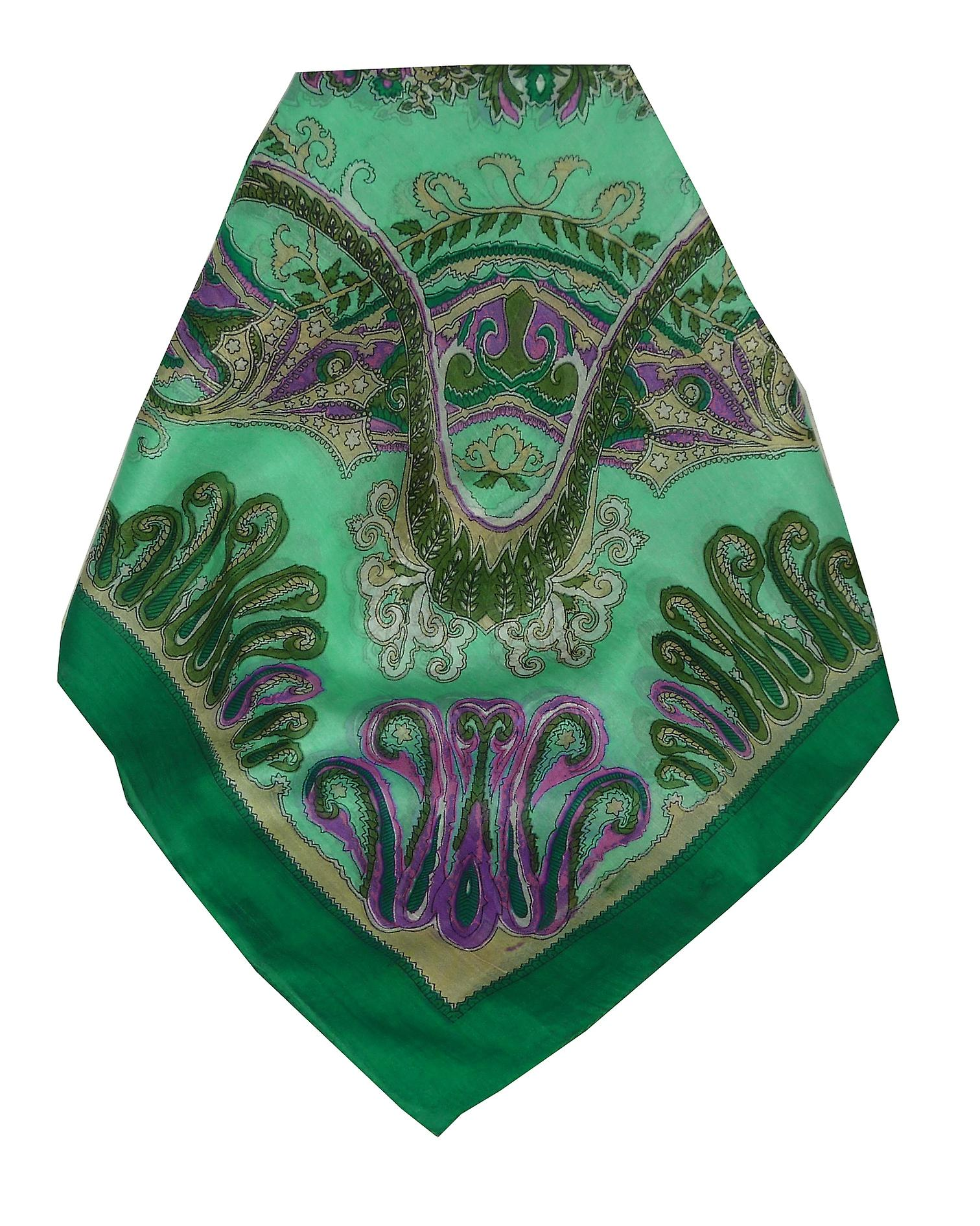 Mulberry Silk Classic Square Scarf Querim Green by Pashmina & Silk