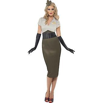WW2 Army Pin Up Spice Darling Costume, UK Dress 8-10