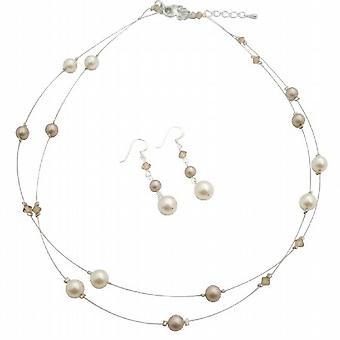 Elfenbein Pearl Colorado Doppelstrang Crystal-Kette Ohrringe Schmuck