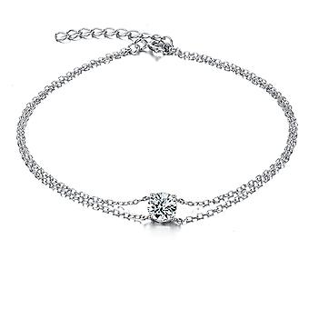 925 Sterling Silver Double Chain Solitaire Stone Bracelet