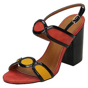 Ladies Anne Michelle High Chunky Heel Sandals F10646