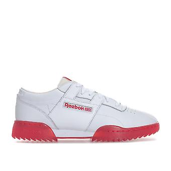 Mens Reebok Classic Workout Clean Ripple Ice Trainers In White Red