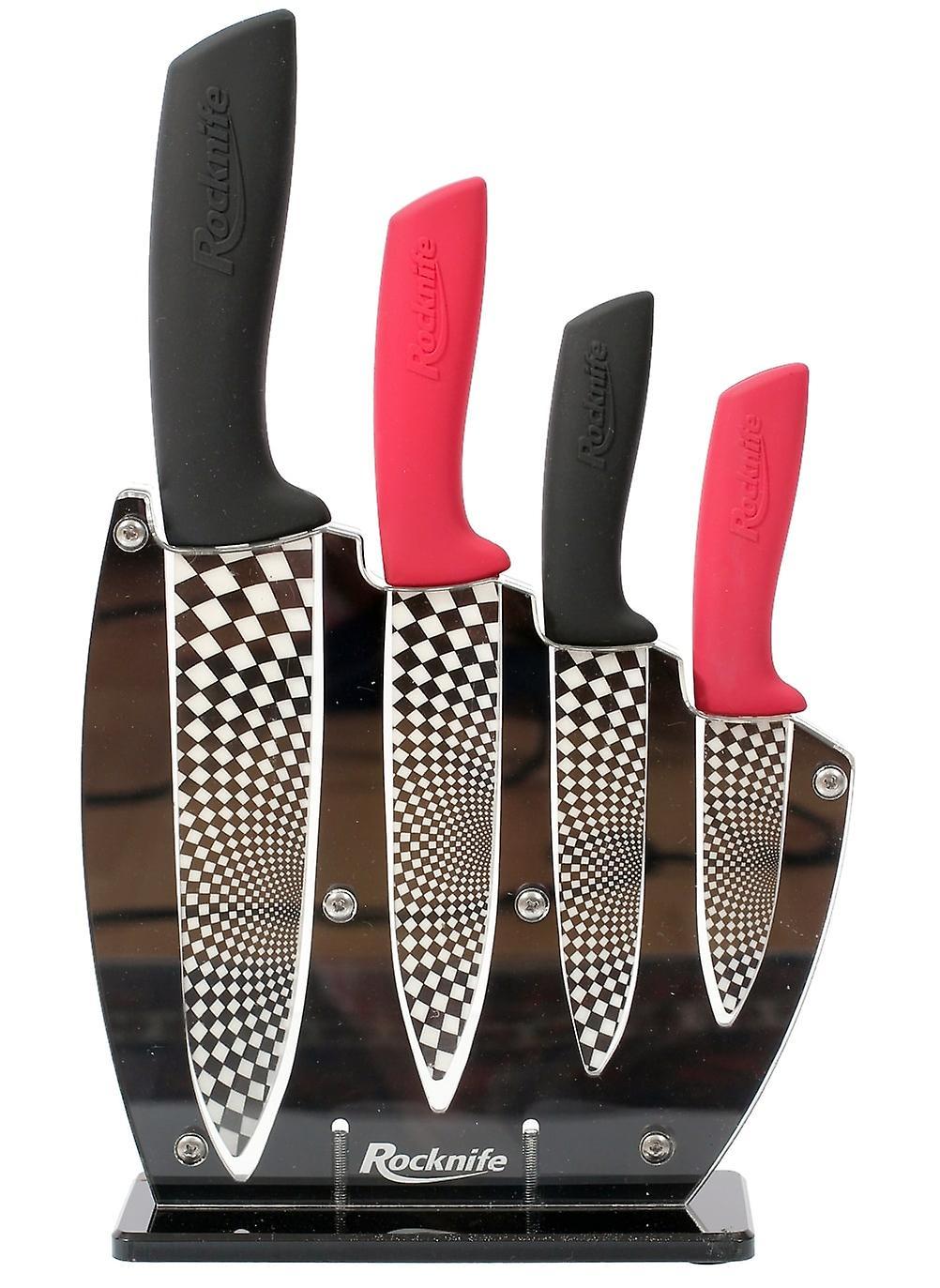Ensemble de couteau en céramique rouge et noir