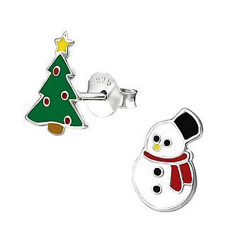 Árvore de Natal e boneco de neve Sterling Silver Stud brincos