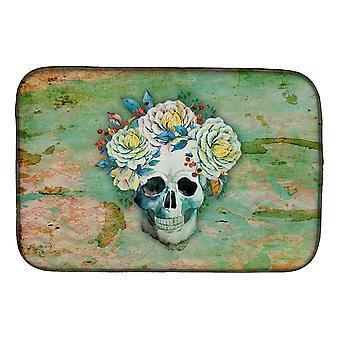 Dag van de dode schedel met bloemen schotel drogen Mat