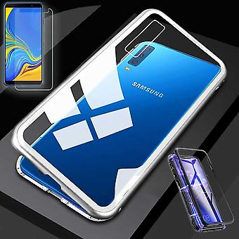 För Samsung Galaxy A20e A202F magnet/metal/glas Case Case silver/transparent + 0,26 mm H9 hårt glas