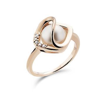 Orphelia 925 Silber Ring Rose mit Perle und Zirkonium