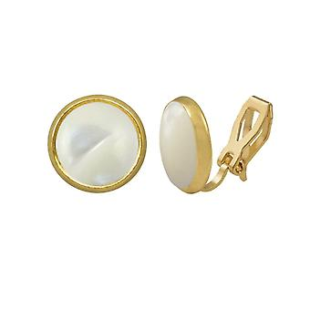 Eternal Collection Symphony Mother Of Pearl Gold Stud Clip On Earrings