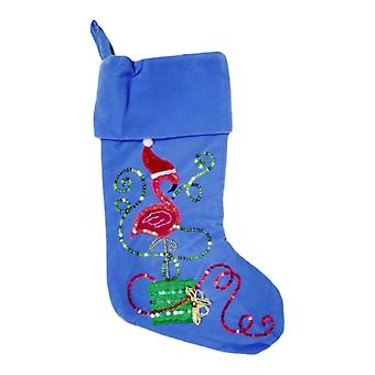 Blue Velvet Tropical Beach Pink Flamingo Christmas Holiday Stocking