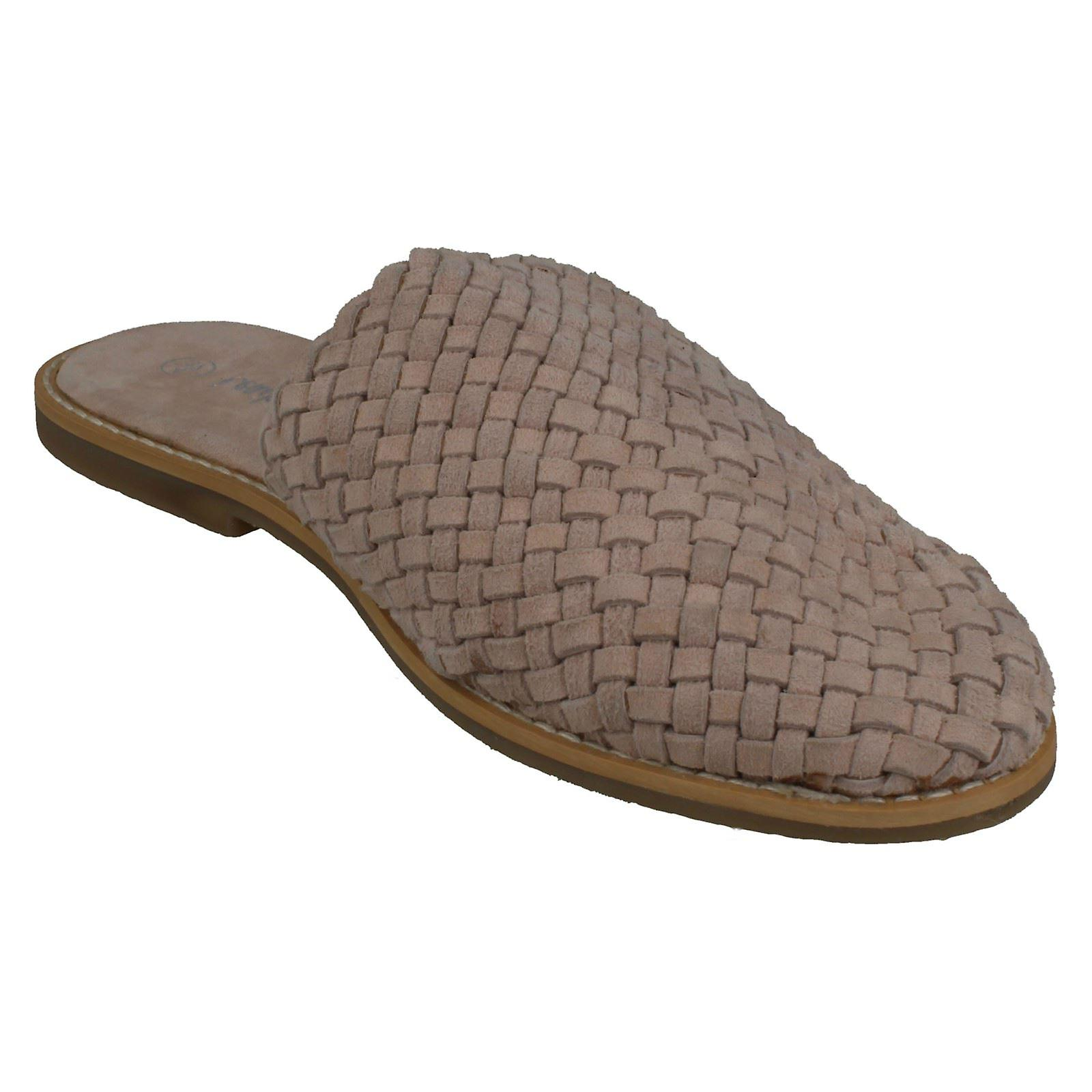 Ladies Leather Collection Weave Vamp Mules F80424