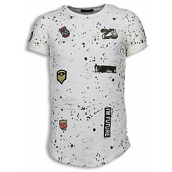 Paint Drops Army Shirt-Long Fit T-shirt Black Dotted-White