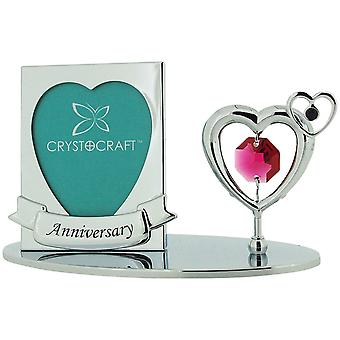 "Crystocraft Free Standing Chrome Plated ""Anniversary"" Photo Frame Ornament Made With Swarovski Crystals"