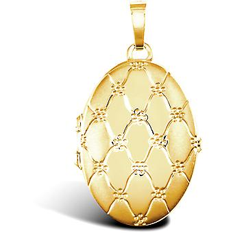 Jewelco London Ladies 9ct Yellow Gold Quilted Daisy Oval 4 Picture Family Locket Pendant