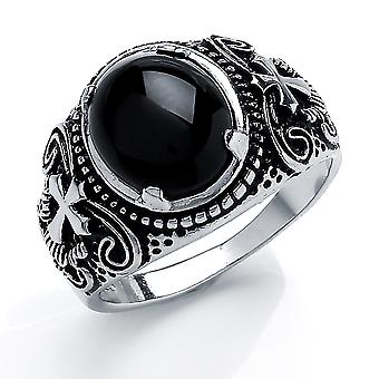 Jewelco London Men's Rhodium Plated Sterling Silver Black Oval Onyx Carved Cabochon Cross Signet Ring