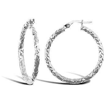 Jewelco London Ladies 9ct White Gold Hammered Faceted 2.5mm Hoop Earrings 30mm