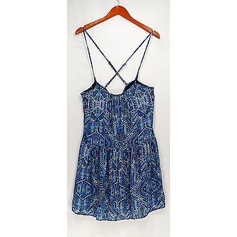Ønsker og trenger kjole trykt spaghetti Strap hvit/blå