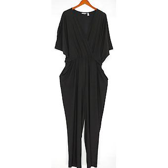 Attitudes by Renee Jumpsuits Printed Faux Wrap Knit Black A290771