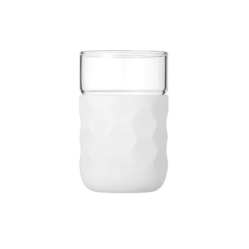 Honeycomb Anti-skid Glass with Silicone Sleeve 250ml in White