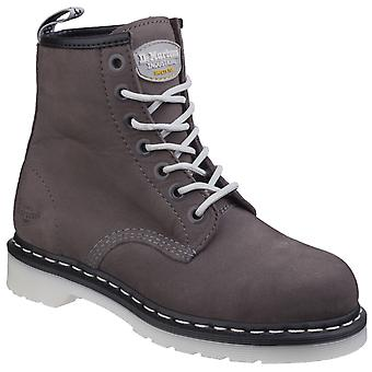 Dr Martens Womens Maple Classic Steel-Toe Work Boot Grey Wind River