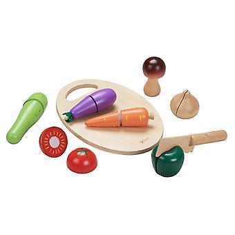 Klassinen maailma-puinen rooli pelata vihannesten leikkaaminen setti 7 vihanneksia