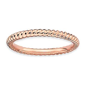 925 Sterling Silber poliert gemustert stapelbare Ausdrücke rosa vergoldet twisted Ring Schmuck Geschenke für Frauen - Ring Siz