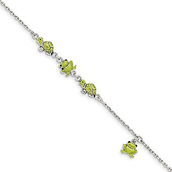 925 Sterling Silver Enamel Turtle and Frog Bracelet 6 Inch - 3.2 Grams