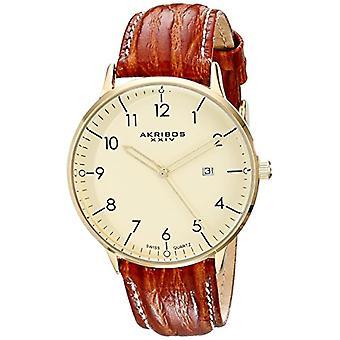 Akribos XXIV pentru barbati ceas Swiss-Quartz, inox, curea din piele, culoare: maro