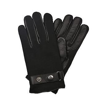 Max gebreide zwart lederen handschoenen