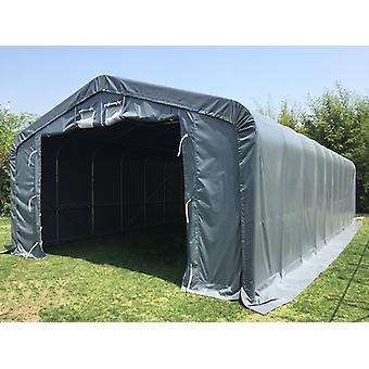 Lagerzelt PRO 7x14x3,8m PVC mit Dachfenster, Grau