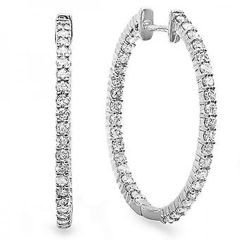Dazzlingrock Collection 0.85 Carat (ctw) 18K Round Diamond Ladies In and Out Hoop Boucles d'oreilles, Or blanc