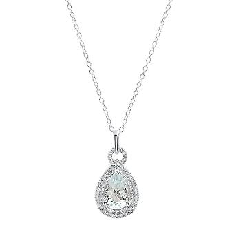 Dazzlingrock Collection 10K 10X7 MM Pear Aquamarine & Round Diamond Ladies Pendant (Silver Chain Included), White Gold