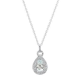 Dazzlingrock kollektion 10K 10X7 MM pære akvamarin & runde diamant damer vedhæng (sølv kæde medfølger), hvid guld