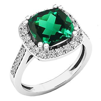 Dazzlingrock Collection 10K 9X9 MM Cushion Lab Created Emerald & Round Diamond Engagement Ring, White Gold