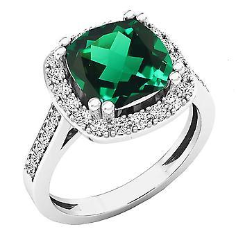 Dazzlingrock kollektion 10K 9X9 MM pude Lab skabt smaragd & runde diamant Forlovelses ring, hvid guld