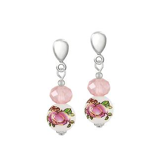 Eternal Collection Captivation Pink Crystal Floral Silver Tone Drop Screw Back Clip On Earrings